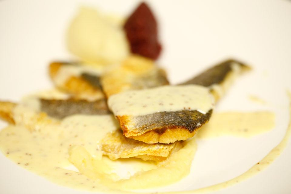 Hoofdgerecht vis bij restaurant 'In het Bonte Varken'